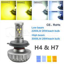 High Power H4 H7 LED Headlight Kit Fog Light Bulb Hi/Low Beam 5 Color Change