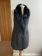 Atmosphere coat 10 Winter Sleeveless Jacket Bnwt Fur Faux Black Grey Coatigan