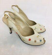I. Miller Vintage 1950s White Floral Peep Toe Slingback Heels Size 8.5 Newbold's