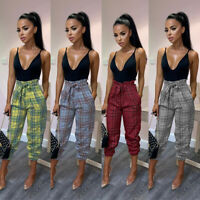 Women Plaid Check Stretch Ladies Casual Pants Skinny Slim High Waist Trousers