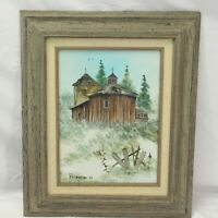 Barn Art Jim Patterson Oil Painting Canvas Signed Framed Wisconsin Country