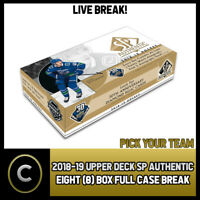 2018-19 UPPER DECK SP AUTHENTIC 8 BOX (FULL CASE) BREAK #H382 - PICK YOUR TEAM