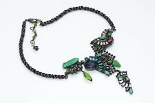 Erickson Beamon Couture Green Multi Color Crystal Necklace