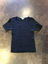 Oscar De La Renta Navy Silk Ribbed  sweater M