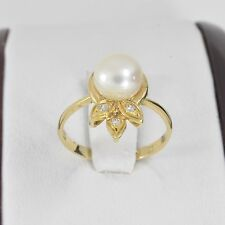 14K Solid Real Yellow Gold Fresh Water Pearl Women Ring -  size 6.- R227