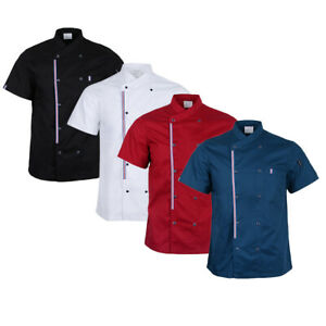 Short Sleeved Chef Coat Jacket Restaurant Chef Vest Uniform with Front Pocket