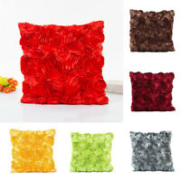 Satin Rose Flower Waist Throw Pillow Case Cushion Cover Sofa Home Decor 40*40cm