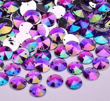 50 AB Purple Sew or Glue on Resin Crystals, Flat Back Round Rivoli Gems Costume