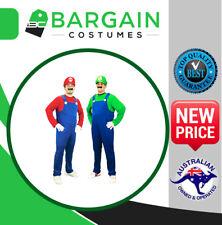 NEW Mens Super Mario Luigi Brothers Fancy Dress Party Costume & Hat & Moustache