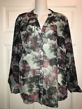 WOMEN'S ROCK 47 SEMI-SHEER ROUNDED FLOWING HEM BUTTON FRONT TUNIC SHIRT- Large