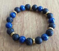 8mm Lapis lazuli Volcanic rocks Bracelet Reiki yoga Tibet silver Stretchy