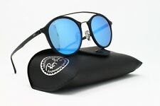 "New! Ray Ban Sunglasses ""LightRay"" Round Double Bridge Black w/Blue Lens 49mm"