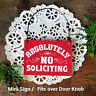 DECO Mini Sign Absolutely NO SOLICITING Wood Ornament RED Put near Doorbell USA