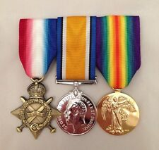 1914-15 Star, British War Medal, Victory Medal, Replica, Swing Mounted WWI Set.