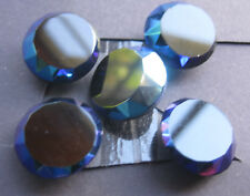 18mm Medium  Aurora Borealis Blue Glass Faceted Vintage Sewing Buttons Set of 5