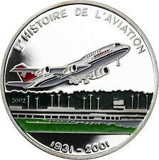 Tschad 1000 Francs 2002 PP Silbermünze Flugzeuge Serie Boeing 747 Start