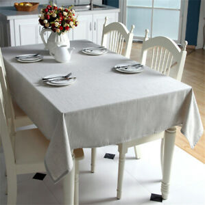 Cotton and linen Textured Fabric Tablecloth Rectangular