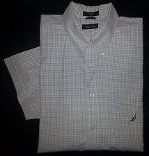 White Navy Green Tan Grids XL NAUTICA S/S Casual Dress Shirt Navy Logo! s2493