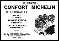 PUBBLICITA' 1929 MICHELIN PNEUMATICI CONFORT BIBENDUM GOMME AUTO MOTO