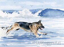 Deutscher Schäferhund Laufen auf Strand Sand Ozean Wellen Surfen Groß Kunstdruck