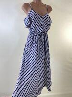 BNWOT NEXT white navy blue stripe button through nautical summer dress size 8 36