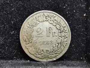 Switzerland, Silver (.800), 2 Francs 1863 B (Rare), F, FE043
