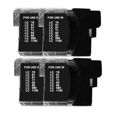 4 Black Ink Cartridges for Brother LC1100 BK LC980 BK