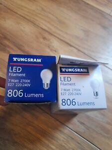 2 x Tungsram LED Filament  E27New 7 Watt 220-240V   2700 warm light. 806 lumens