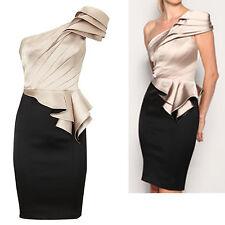 KAREN MILLEN Black Satin One Shoulder Pleat Peplum Cocktail Pencil Dress 14 UK