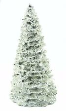 Silver Metal Snow Covered Tree Christmas Ornament Holiday Decoration