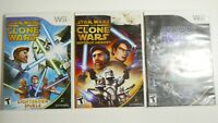 Lot of 3 Nintendo Wii Star Wars Games clone wars, Force Free Shipping