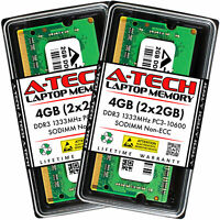 A-Tech 4GB 2 x 2GB PC3-10600 Laptop SODIMM DDR3 1333 MHz 204pin Memory RAM 2G 4G