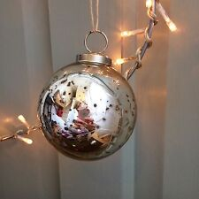 Plateado Redondo Copo de nieve Grabado Mercury Cristal Bola,Vintage