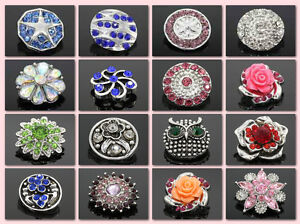 18mm 3D Rhinestone Drill Snaps Chunk Charm Button Fit For Noosa Leather Bracelet