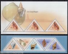 Guinea 2011 MNH 2 SS Set, Shells, Marine Life, Odd unusual Triangle Stamps