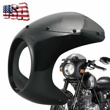 "7""Motorcycle Front Headlight Cafe Racer Handlebar Vivid Black Fairing Windshield"