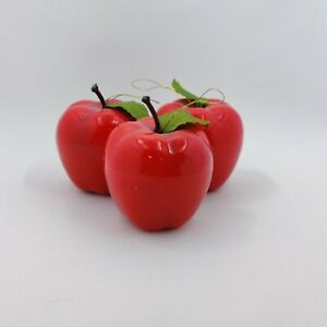 """Vintage Lot 12 - Red Apple Xmas Ornaments - Lacquer Silky Leaf 1.5-2"""""""