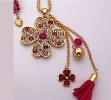 Betsey Johnson Necklace Irish Clover Pink Fuchsia St Paddys Gold Crystals Tassel