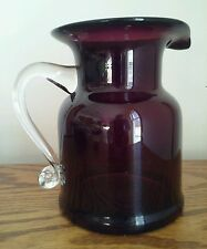 "Glass Pitcher Amethyst Color Wide Lip Clear Glass Handle 6.5"" Tall Holds 30 oz."