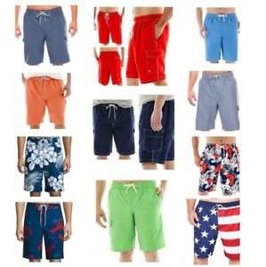 Foundry Supply Co. Men's Swim Trunks 1X 2X 3X or 4X Red Blue Flags Floral