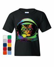 Space Cat Youth T-Shirt Astronaut Galaxy Cat Cute Kitten Pet Lovers Kids Tee