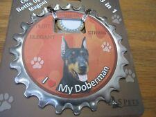 E&S Pets I Love My Doberman 3 in 1 Bottle Opener Coaster Magnet New