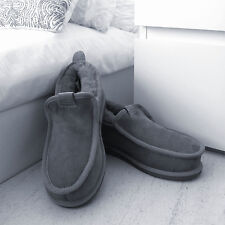 New Grey Deluxe Mens Pure Genuine Fur Sheepskin Suede Slippers Hard Sole & Box