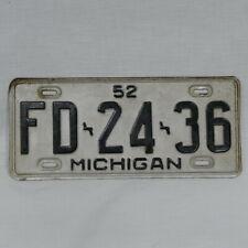 Vintage Michigan 1952 Single License Plate Fd-24-36