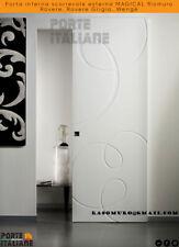 Porta interna scorrevole esterna MAGICAL filomuro Rovere, Rovere Grigio, Wengè