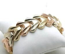 Vintage 14k handmade bracelet tri color smooth 8.25 inch rose yellow white gold