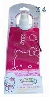 4 X HELLO KITTY FOLDING WATER BOTTLE KIDS SCHOOL FOLDABLE 480ML