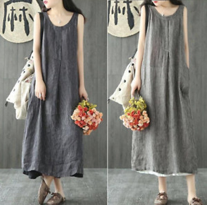 New Women Maxi Dreess Cotton Linen Striped Sleeveless Dresses Casual Loose