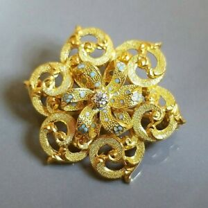 Hallmarked Krementz and 14K Yellow Gold Diamond and Enamel Antique Brooch