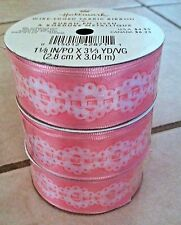 3 X Wire-Edged Fabric Ribbon Pink And White 3 1/3 Yds; 1 1/8 Inch
